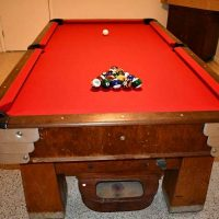 Rare Antique Vintage Art Deco Saunier Wilhem Slate Pool Table and Accessories